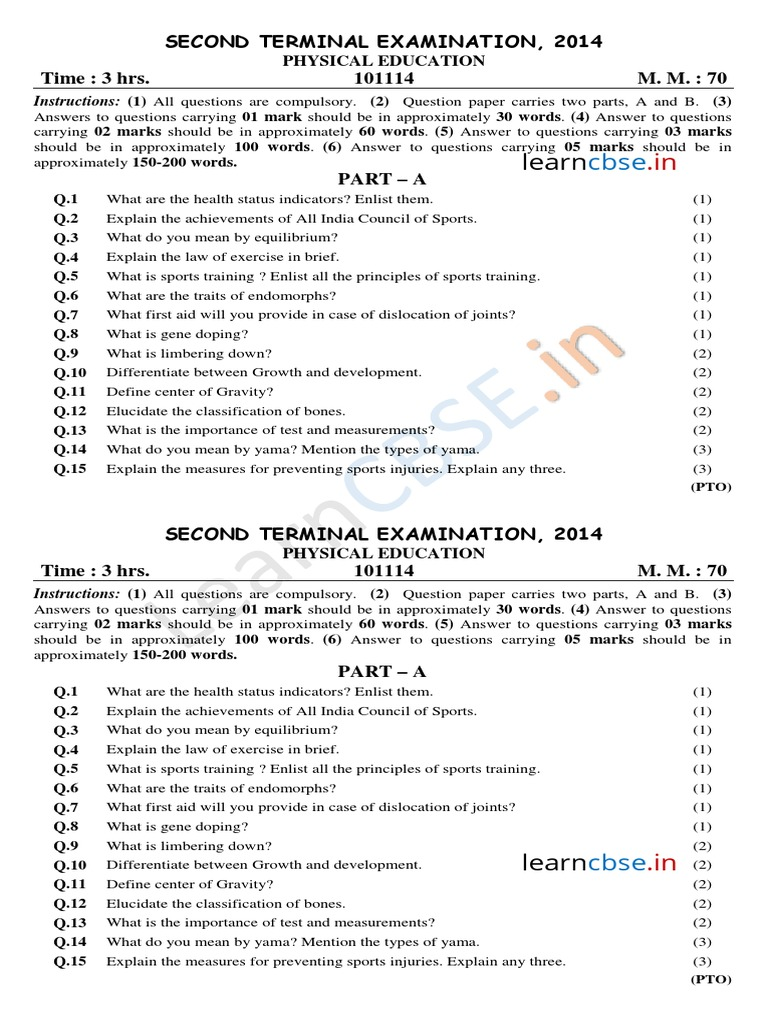Cbse class 11 physical education sample paper sa2 2014 sports cbse class 11 physical education sample paper sa2 2014 sports recreation malvernweather Images