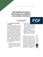 Poder Explicativo de Los Determinantes Del Rendimiento Académico - Tejedor