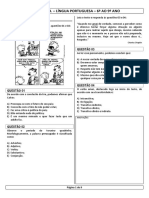 Prova-lingua Portuguesa 6 Ao 9 Ano