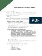 Evaluación de Carga Física y Mental en El Trabajo