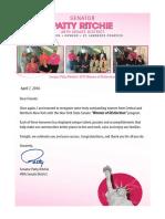 Senator Patty Ritchie 2016 Women of Distinction