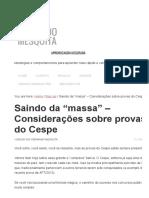 """Saindo Da """"Massa"""" – Considerações Sobre Provas Do Cespe – Fernando Mesquita"""