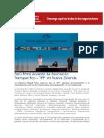 Perú Firmó Acuerdo de Asociación Transpacífico