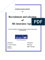 Summer Training Report on recruitment of advisors for bharti axa life insurance