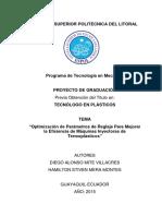 Tesis Optimizacion de Parametros de Reglaje Para Mejorar La Eficiencia de Maquinas Inyectoras
