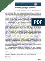 Statement by DG, NIA on Visit of Pak JIT