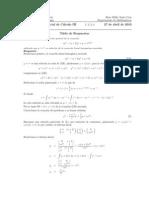 Corrección Primer Parcial Cálculo III, Semestre I 2010