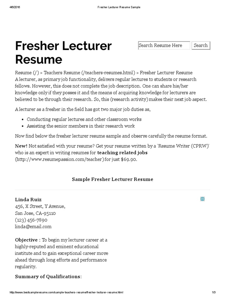 Fresher Lecturer Resume Sample Lecturer Resume