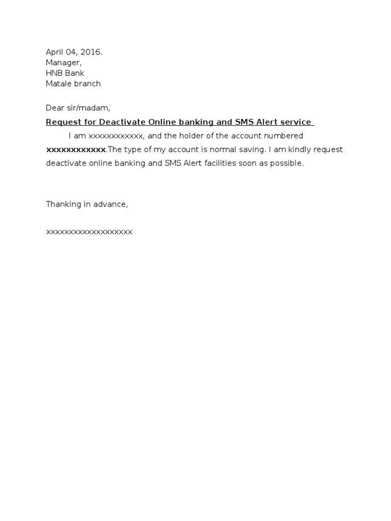 Request letter for deactivate some banck facilities spiritdancerdesigns Image collections