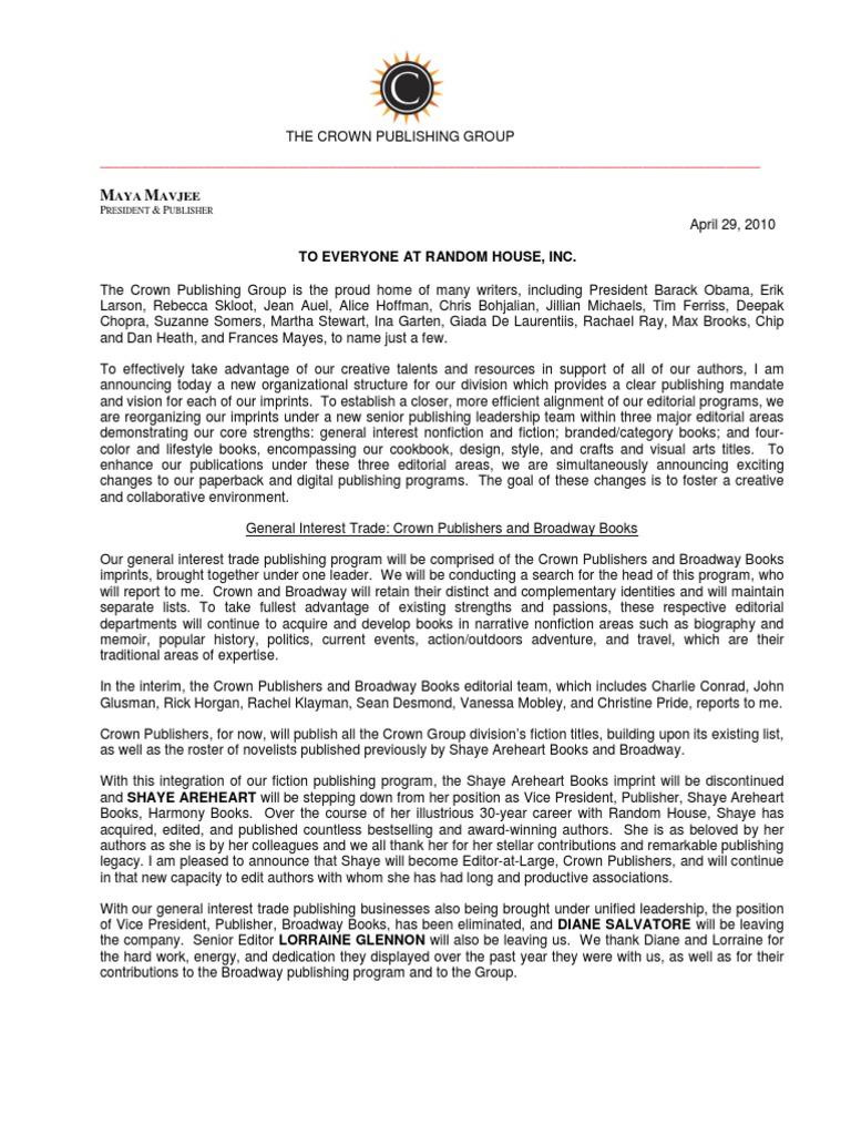 Crown Publishing Group Restructure Memo   Crown Publishing Group   Random  House