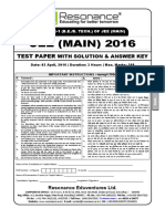 Jee Main 2016 Solution Code F