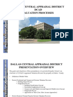 DALLAS CENTRAL APPRAISAL DISTRICT [DCAD] VALUATION PROCESSES