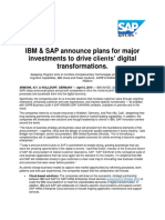 IBM & SAP announce plans for major investments to drive clients' digital transformations.