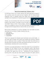 World Oral Health Day 2016 Press Release (Eng)