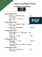 Jadwal Lengkap Pertandingan 8 Besar Piala Jenderal Sudirman