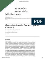 Canonisation Du Coran… Par Le Coran