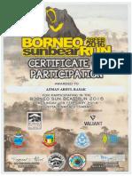 Sunbear Run 2016 Certificate
