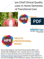 BrightStar Care Chief Clinical Quality Officer Discusses In Home Dementia Care and Transitional Care