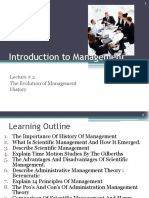 Lecture 2 the Evolution of Management History