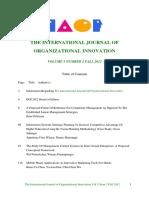 International Journal of Organizational Innovation Final Issue Vol 5 Num 2 Fall 2012