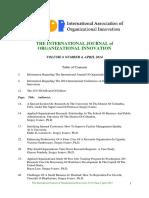 International Journal of Organisational Innovation Final Issue Vol 6 Num 4 April 2014
