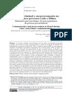 Política Criminal e Encarceramento No Brasil Nos Governos Lula e Dilma