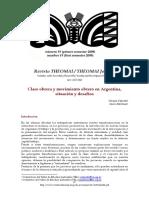 Clase obrera y movimiento obrero en Argentina, situación y desafíos