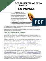Propiedades Alimentarias de La Papaya