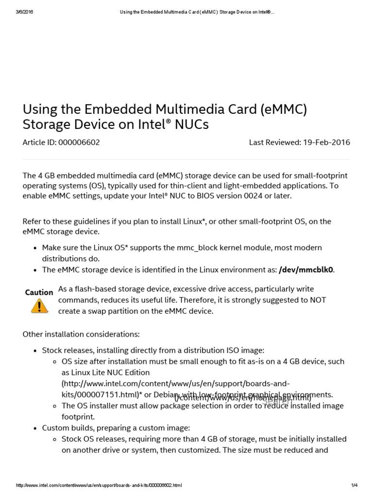 Using the Embedded Multimedia Card (eMMC) Storage Device on Intel