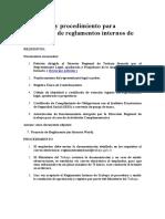 Requisitos y Procedimiento Para Aprobación de Reglamentos Internos de Trabajo