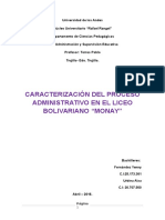 Proceso Administrativo  de un Liceo