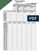 Spring 2017 Timetable