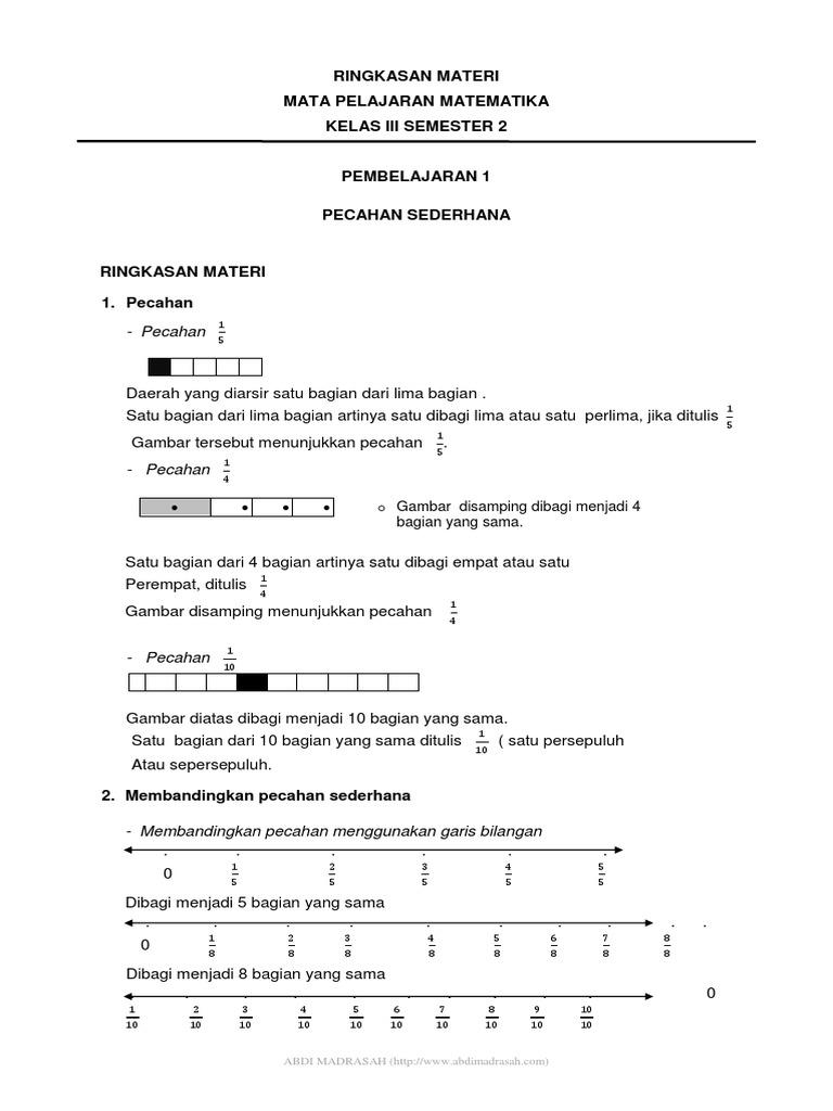 Ringkasan Materi Matematika Kelas 3 Semester 2 Pdf