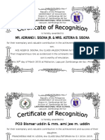 Certificate of Recognition-Parents