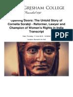 Opening Doors the Untold Story of Cornelia Sorabji Reformer Lawyer and Champion