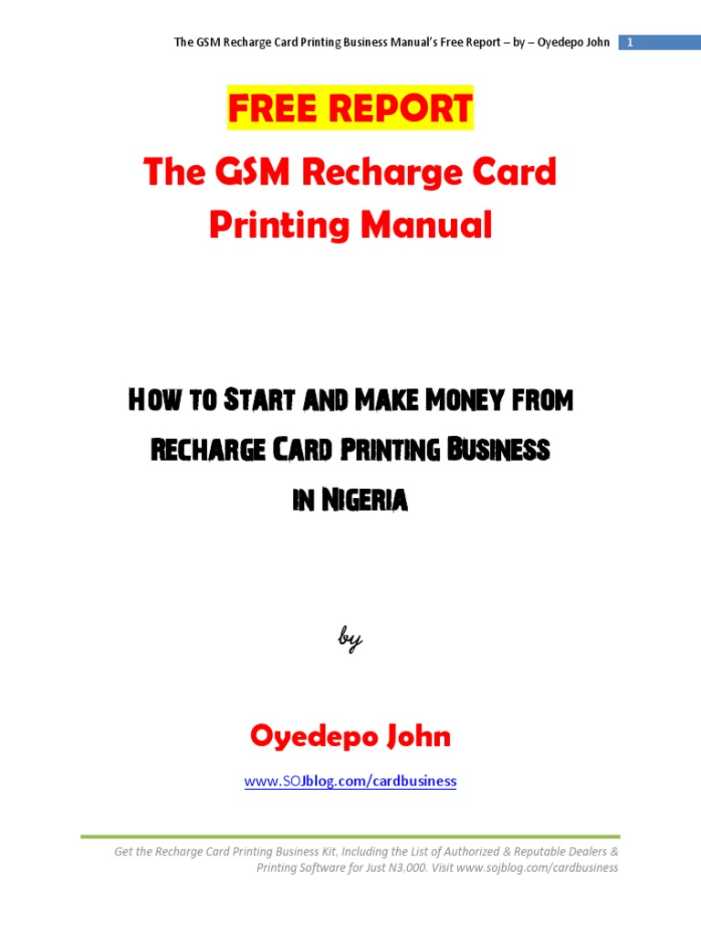 Freereport Thegsmrechargecardprintingmanual Short Message Service