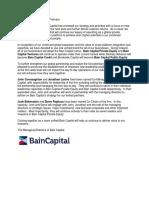 Bain Capital LP Letter