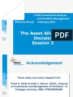 Asset Allocation Decision