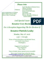 Invitation to Leahy Fundraiser Featuring Cory Booker