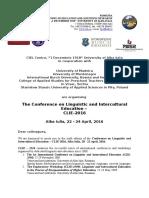 CfP CLIE Conference 2016 Alba Iulia