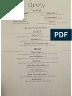 Gravy restaurant's opening dinner menu