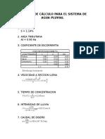 Memoria de Cálculo de Sistema de Agua Pluvial
