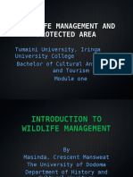WILDLIFE MANAGEMENT AND PROTECTED AREA