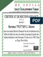 N Réf 014 2016 Certificat de Reconnaissance