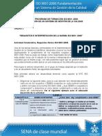 Actividad de Aprendizaje Unidad 3 Requisitos e Interpretacion de La Norma ISO 90012008. María Dugarte.