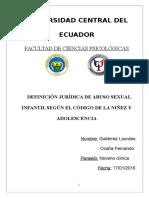 Definición Jurídica de Abuso Sexual Infantil Según El Código de La Niñez y Adolescencia