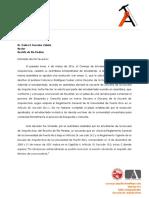 Carta CGE dirigida al rector en apoyo a los estudiantes de Arquitectura