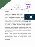 Carta de  la MUD 1