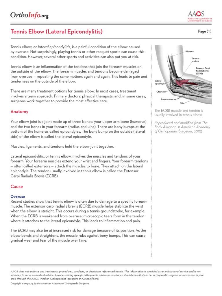 Jurnal Tennis Elbow | Elbow | Surgery