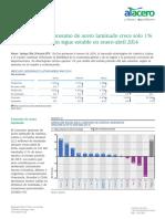 Consumo de Acero Laminado Crece Solo 1 Mientras Producción Sigue Estable en Enero-Abril 2014